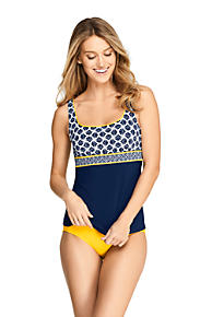 9172f2d34f Women s Mastectomy Square Neck Tankini Top Swimsuit Print