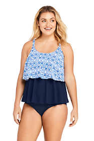 Women's Plus Size Tiered Ruffle Tankini Top Swimsuit Print
