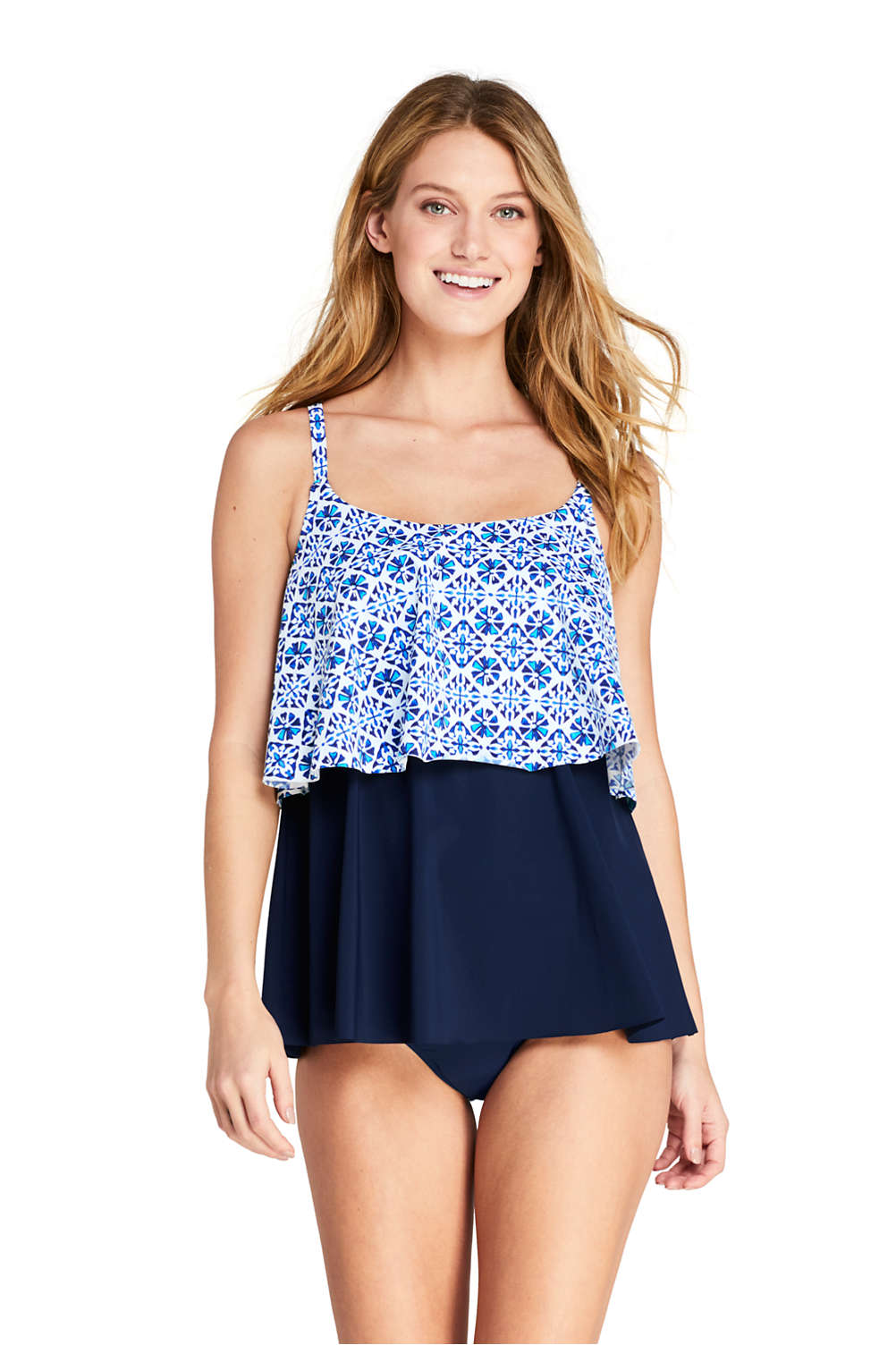 b3320a692a33d Women s Tiered Ruffle Tankini Top Swimsuit Print from Lands  End