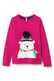 Girls Fuzzy Bear Sweatshirt