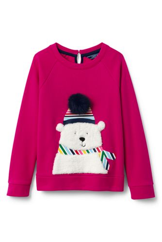 Girls' Fuzzy Polar Bear Sweatshirt