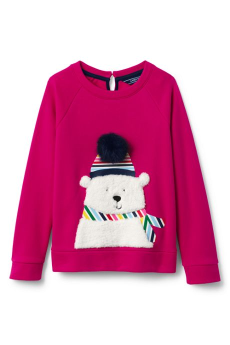 Little Girls Fuzzy Bear Sweatshirt