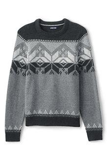 Winter-Pullover mit Fairisle-Musterbordüre für Herren