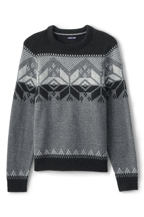 Men's Tall Lighthouse Fairisle Yoke Crew Sweater