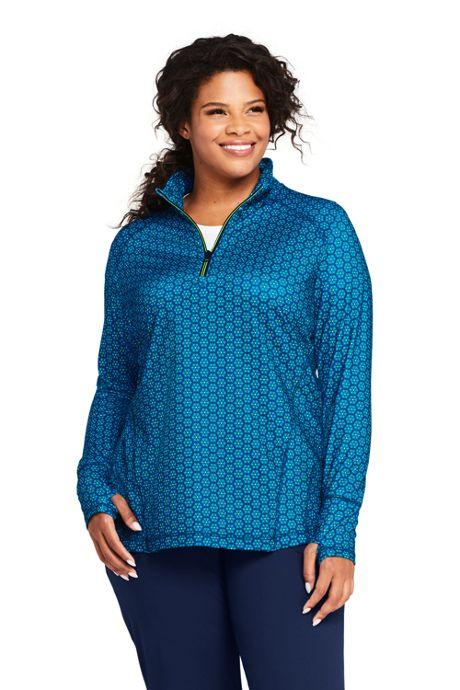 Women's Plus Size Active Tech Print Quarter-zip Fleece Pullover