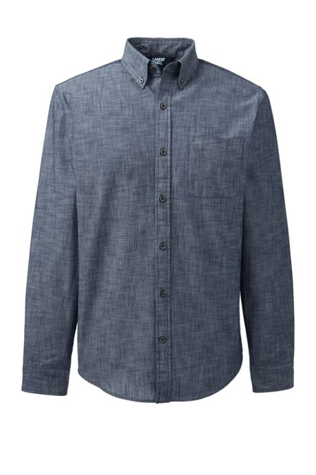 Men's Long Sleeve Traditional Fit Chambray Shirt