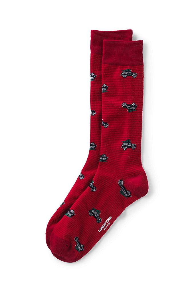 Men's Seamless Toe Novelty Pattern Dress Socks (1-pack) – Lands' End – Red