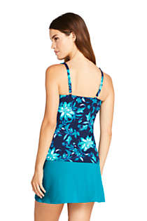Women's DD-Cup Square Neck Underwire Tankini Top Swimsuit with Adjustable Straps Print, Back
