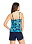 Women's Beach Living Square Neck Tankini Top, Print - DDD Cup