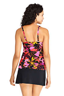 Women's Square Neck Underwire Tankini Top Swimsuit with Adjustable Straps Print, Back