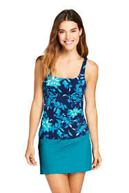 Women's Petite Square Neck Underwire Tankini Top Swimsuit Adjustable Straps Print