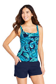 Women's Petite Square Neck Underwire Tankini Top Swimsuit with Adjustable Straps Print