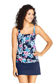 Women's Tummy Control Square Neck Underwire Tankini Top Swimsuit Adjustable Strap Print