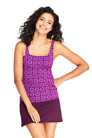 Women's Long Square Neck Underwire Tankini Top Swimsuit Adjustable Straps Print