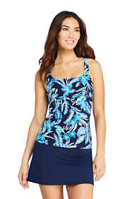 Women's D-Cup Square Neck Underwire Tankini Top Swimsuit with Adjustable Straps Print