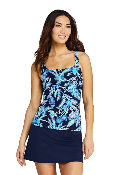 Women's D-Cup Tummy Control Square Neck Underwire Tankini Top Swimsuit with Adjustable Strap Print