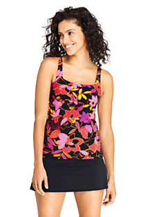 Women's Square Neck Underwire Tankini Top Swimsuit with Adjustable Straps Print, Front