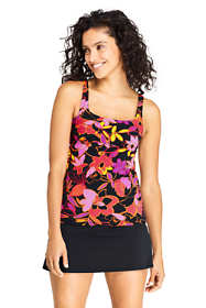 Women's Mastectomy Square Neck Tankini Top Swimsuit Adjustable Straps Print