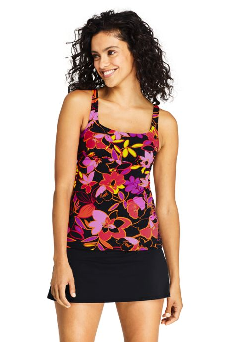 Women's Long Square Neck Underwire Tankini Top Swimsuit with Adjustable Straps Print