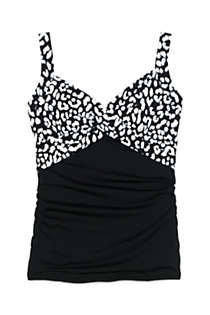 Women's Petite Wrap Underwire Tankini Top Swimsuit Print, Front