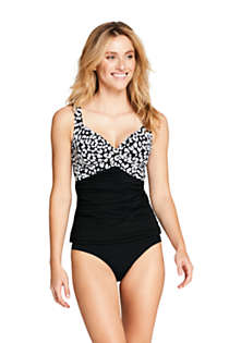 Women's Wrap Underwire Tankini Top Swimsuit Print, Front
