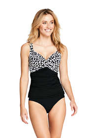 Women's Long D-Cup Wrap Underwire Tankini Top Swimsuit Print