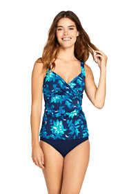 Women's Long Wrap Underwire Tankini Top Swimsuit Print