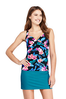 Women's Beach Living Wrap Tankini Top, Print - D Cup