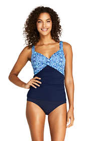 Women's Petite Wrap Underwire Tankini Top Swimsuit Print