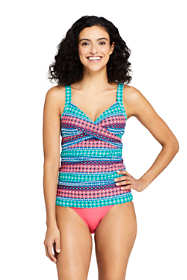 Women's D-Cup Wrap Underwire Tankini Top Swimsuit Print