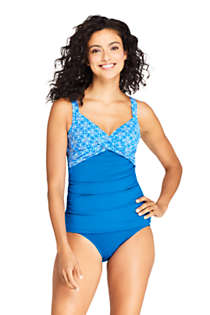 Women's Long Wrap Underwire Tankini Top Swimsuit Print, Front