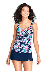 Women's DDD-Cup Wrap Underwire Tankini Top Swimsuit Print