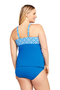 Women's Plus Size Wrap Underwire Tankini Top Swimsuit with Tummy Control Print, Back