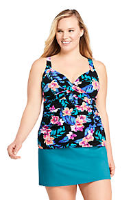 f5431dd95fa Women's Plus Size Wrap Underwire Tankini Top Swimsuit Print