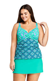 Women's Plus Size Wrap Underwire Tankini Top Swimsuit Print