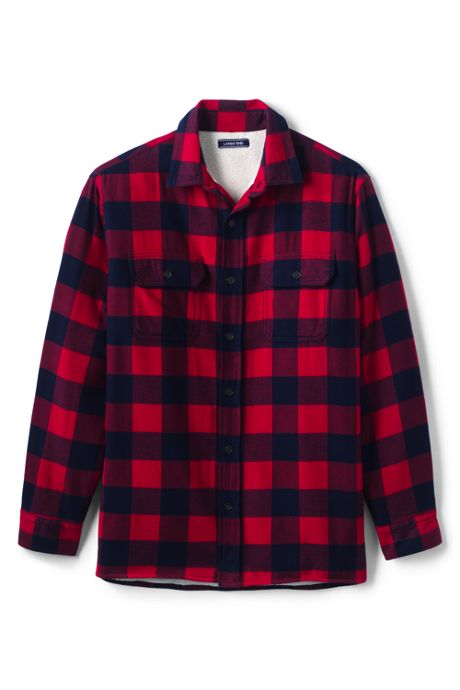 Men's Traditional Fit Sherpa-Lined Flannel Shirt