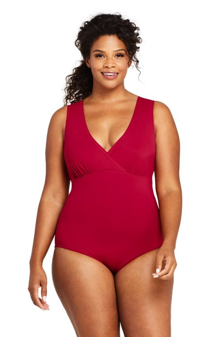 Women's Plus Size Deep V-neck One Piece Swimsuit