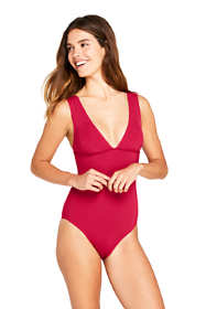Women's Long Deep V-neck One Piece Swimsuit