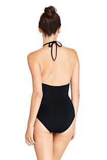 Women's High Neck Halter One Piece Swimsuit Black, Back