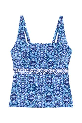 Women's Plus Size Tummy Control Square Neck Underwire Tankini Top Swimsuit Print