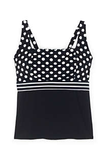 Women's Plus Size Mastectomy Square Neck Tankini Top Swimsuit Adjustable Straps Print, Front