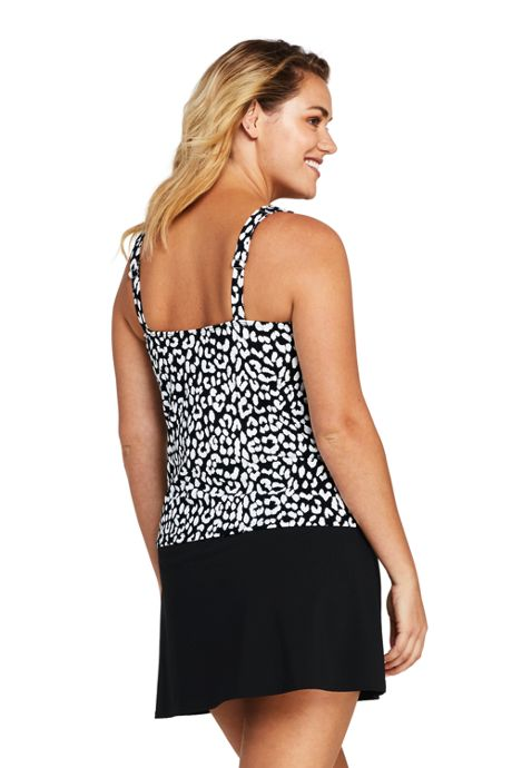 Women's Plus Size Long Square Neck Underwire Tankini Top Swimsuit Print