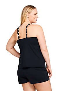 Women's Plus Size Mastectomy Square Neck Tankini Top Swimsuit Adjustable Straps Print, Back