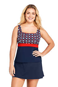 Women's Plus Size DD-Cup Square Neck Underwire Tankini Top Swimsuit Print