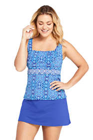 Women's Plus Size G-Cup Square Neck Underwire Tankini Top Swimsuit Adjustable Straps Print