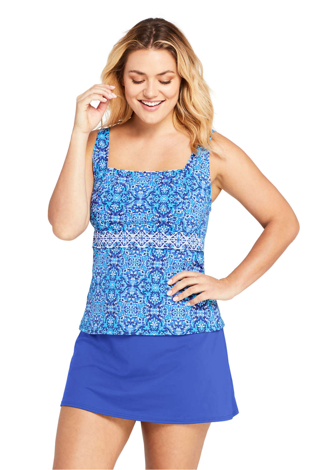 851912394abfe Swimwear Swimming Lands End Womens Plus Size Square Neck Underwire Tankini  Top Swimsuit Print