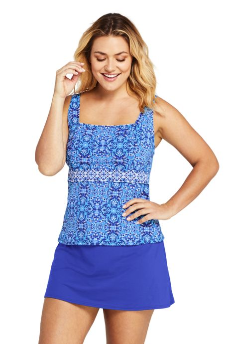 Women's Plus Size Square Neck Underwire Tankini Top Swimsuit with Tummy Control Print