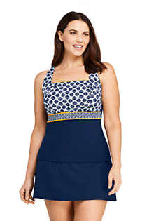 Women's Plus Size G-Cup Square Neck Underwire Tankini Top Swimsuit Adjustable Straps Print, Front
