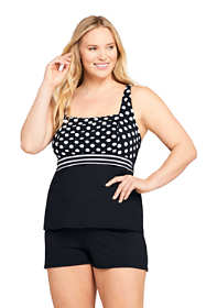 Women's Plus Size Mastectomy Square Neck Tankini Top Swimsuit Adjustable Straps Print