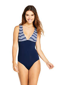 Women's Long Deep V-neck One Piece Swimsuit Print